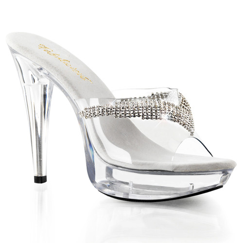 "Fabulicious | Cocktail-501-5, 5"" Clear Dressy Heel with Rhinestones Slide"