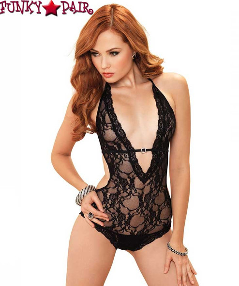 Deep V-Halter Teddy * LA81375 color Black