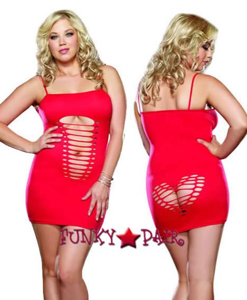 DG-8650X, Heart Back Plus Size Mini Dress