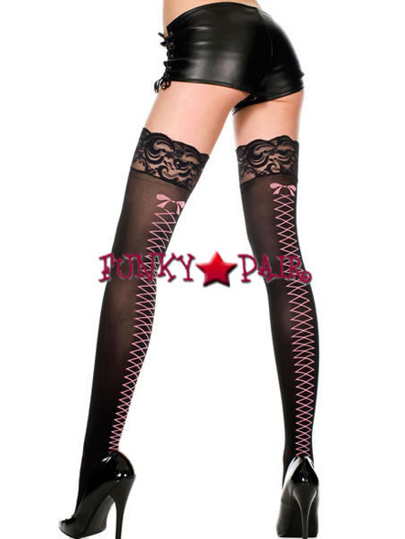 ML-4242, Faux Lace Up Stocking