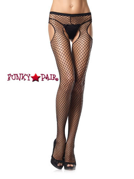 1405Q, Plus Size Industrial Net Suspender Pantyhose
