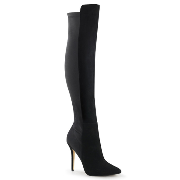 AMUSE-2018, 5 inch stiletto heel pull on over the knee boot with stretch back panel and inner side zipper