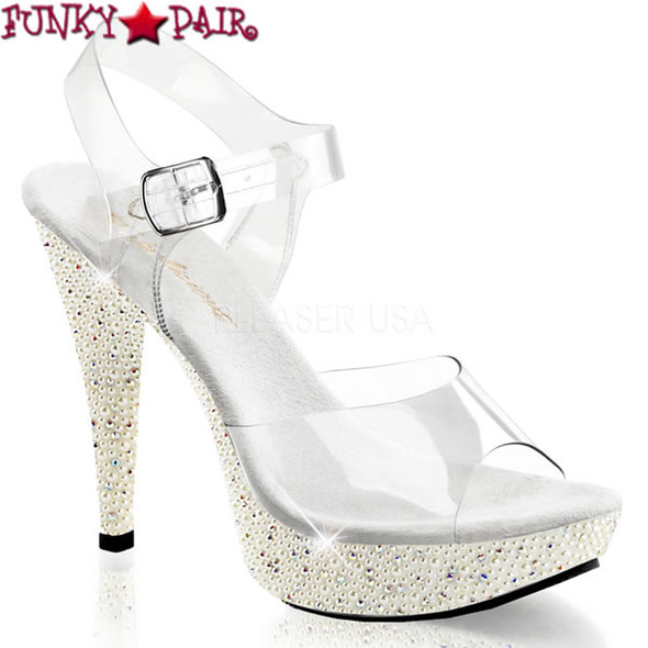Cocktail-508PRL,  5 Inch Ankle Strap Sandal with Rhinestones and Pearl