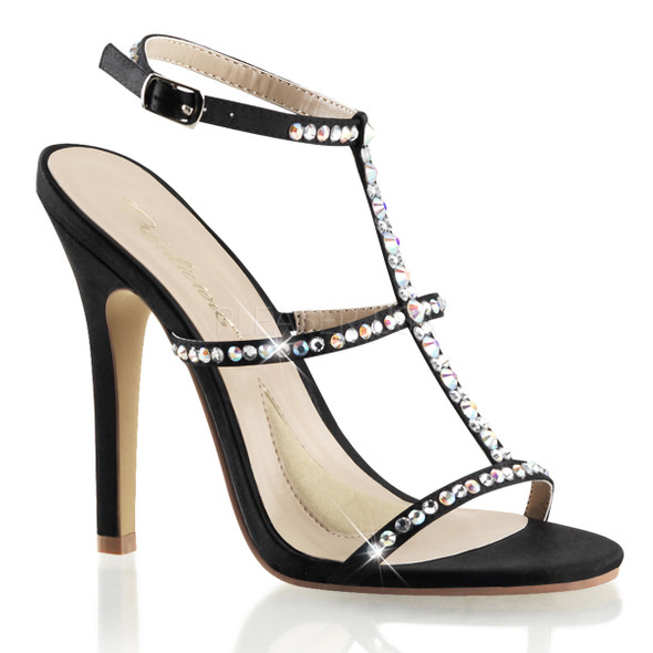 Melody-18, 4.5 Inch Heel T-Strap Rhinestones Sandal Made By PLEASER Shoes