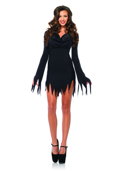 LA-85338, Cowl Neck tattered dress