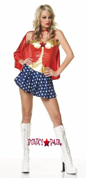 52PC. Hero girl costume, includes cape and dress with sequined star.5