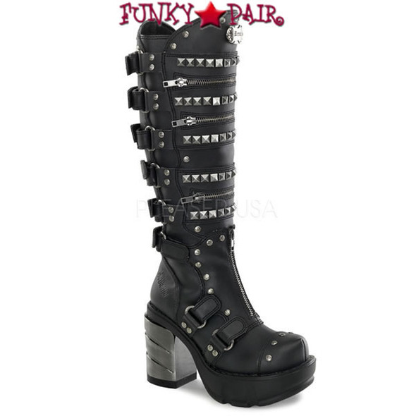 SINISTER-301, 3.5 Inch Multi Strap Gothic Knee High Women Punk boots Mady By Demonia