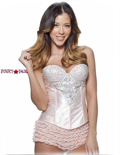 C1201, Rhinestone Champagne Corset Made by Mysery House