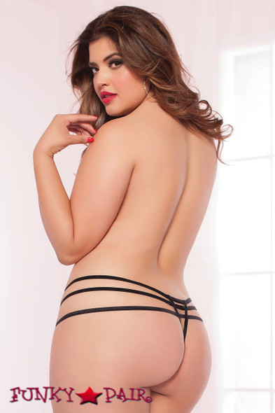 side Plus Size Elastic Open Crotch Thong (STM-9979X)