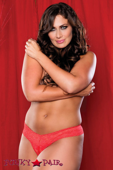 Red Plus Size Lace Split Crotch Thong (STM-9175X)