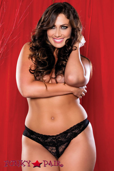 Black Plus Size Lace Split Crotch Thong (STM-9175X)