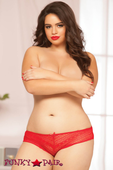 Red Plus Size Geo Lace Panty (STM-10549X)