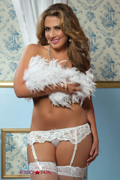 White Plus Size Lace Garter Belt (STM-9555X)