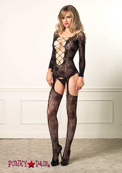 89133, Floral Lace long Sleeve Suspender Bodystocking