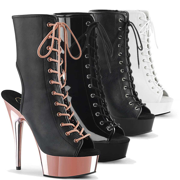 "Delight-1016, 6"" Heel Open Toe/Back Ankle Boots by Pleaser USA"