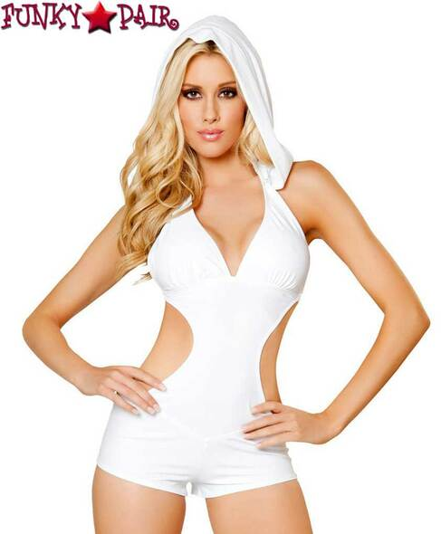 Rave Cut out Romper with Hood | Roma R-3083 color white