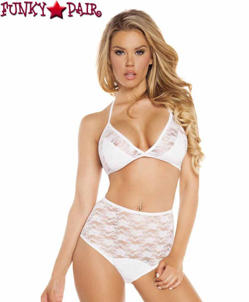 Rave Lace Halter Top and Matching High Waist Shorts | Roma R-3212  color white