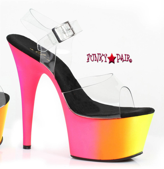 7 inch high heel ankle strap platform with neon uv color that glows in black light. (Made in USA)