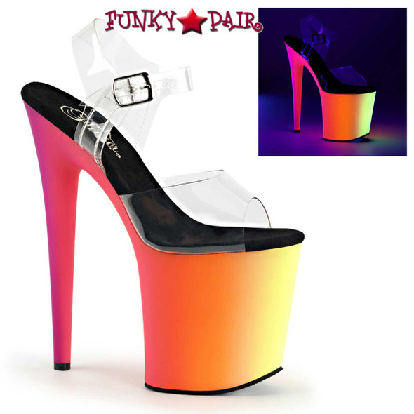 Stripper Shoes | Rainbow-808UV, 8 Inch Ankle Strap with Multi-Color Platform