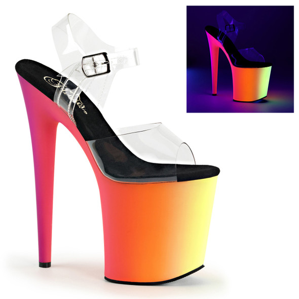 Pleaser Clearance $54.95 | Rainbow-808UV, 8 Inch Ankle Strap with Multi-Color Platform