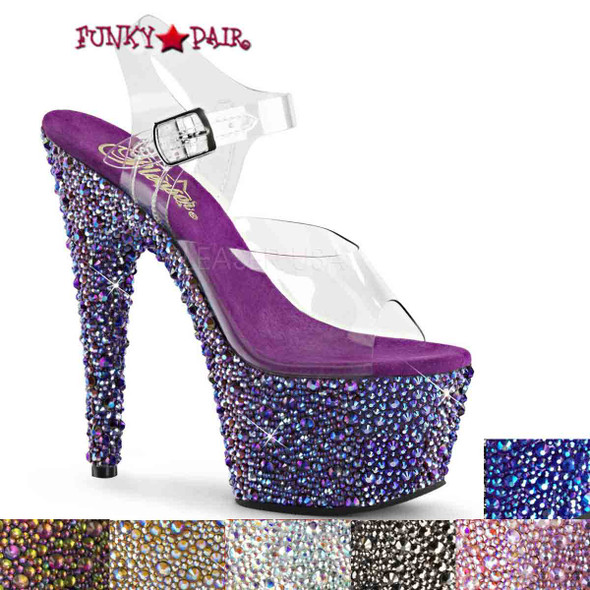Stripper Shoes Bejeweled-708MS, 7 Inch Ankle Strap Sandal with Multi Size Rhinestones