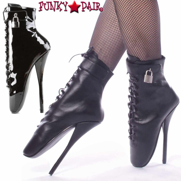 "Ballet-1025 7"" Fetish Ankle Boots with Padlock by Devious"
