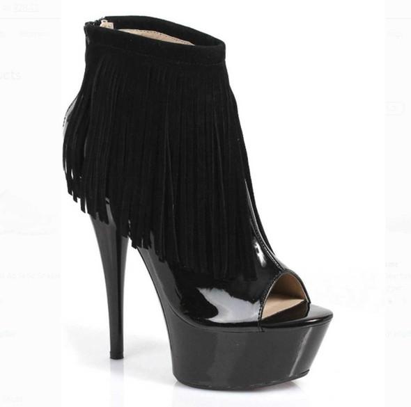 "6"" Fringe Ankle Boots | Ellie Shoes 609-Sonoma"