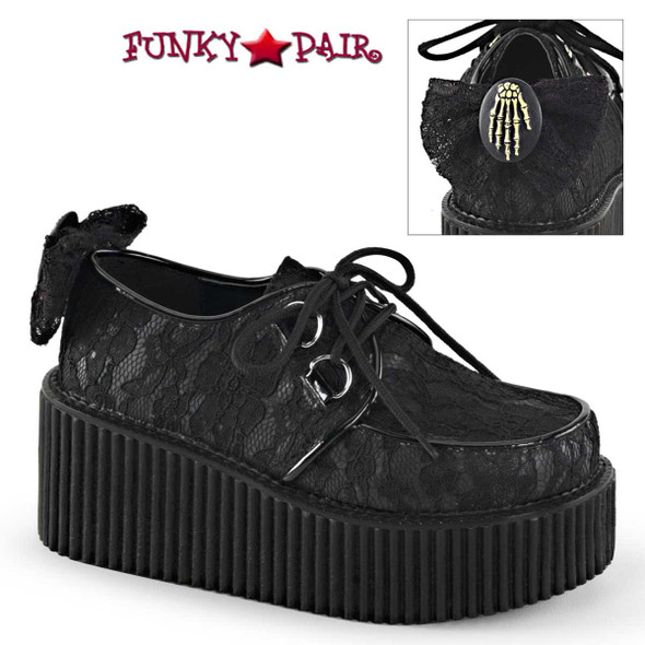 Demonia Shoes   Creeper-212, 3 inch Platform Creeper with lace overlay