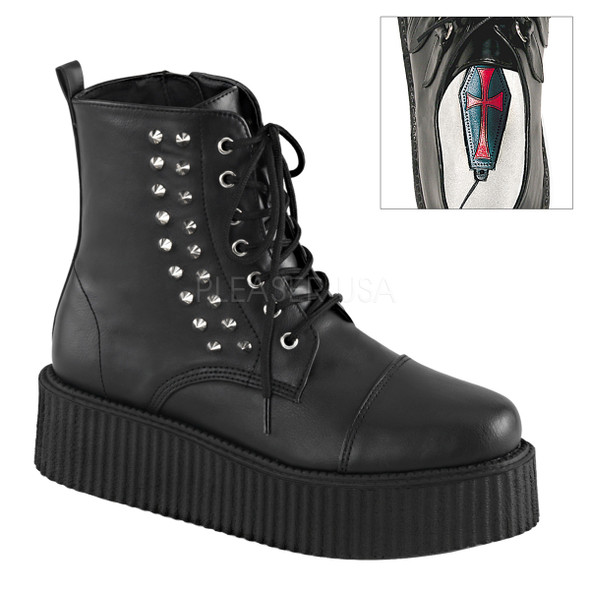 Demonia | Men V-Creeper-573, Ankle Boot Platform Creeper