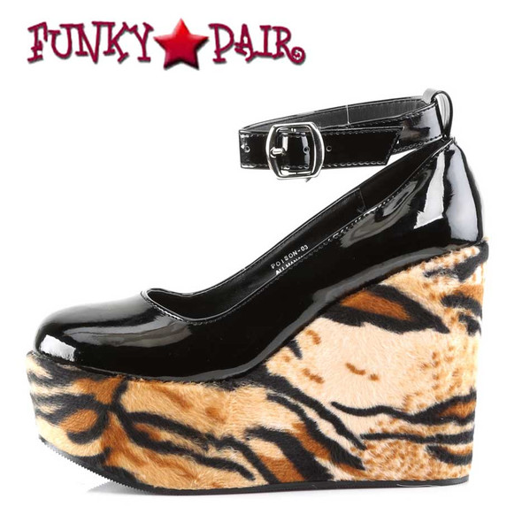 Demonia | Poison-03, Print Wedge Platform Shoes