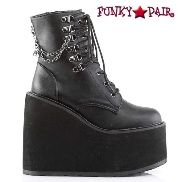Demonia Swing-101, Gothic Wedge Platform Ankle Boots with Bat Charm