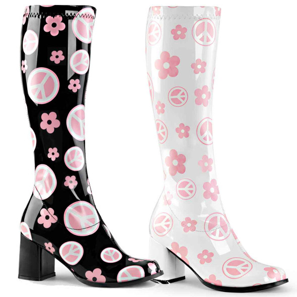 Gogo-300FL Peace and Flower Go Go Boot | Pleaser