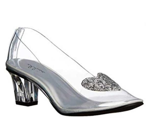 """Women's 2"""" Kitten Heel Clear Slipper with Heart   212-Ariel Cosplay Shoes"""