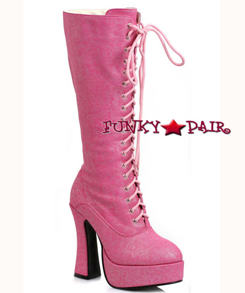 "Ellie Shoes | 557-Foxy, 5"" Pink Chunky Knee High Boots 
