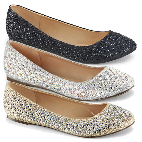 Fabulicious | Treat-06,  Round Toe Ballet Flat with Silver Multi Rhinestone Embellishment on Vamp Glitter Mesh