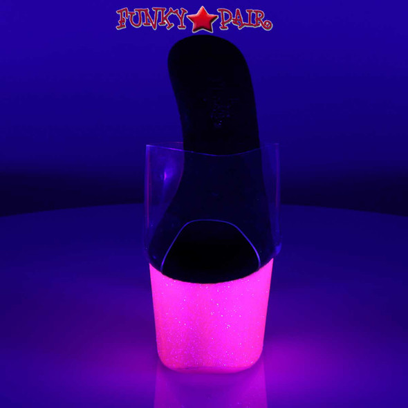 Stripper Shoes Adore-701UVG, 7 Inch Slide with Neon Pink UV Reactive Front View
