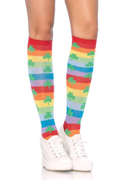 LA5212, Rainbow Clover Knee Highs