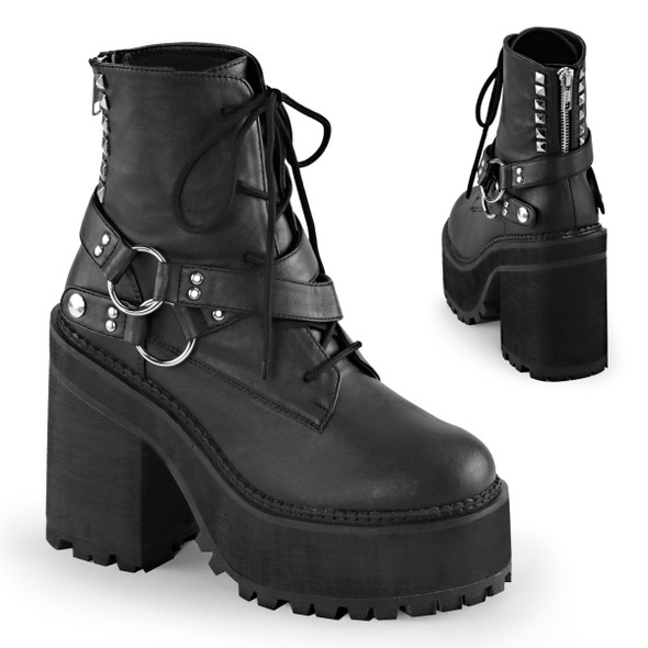 Assault-101, 4.75 inch block heel lace up ankle boot with D-rings