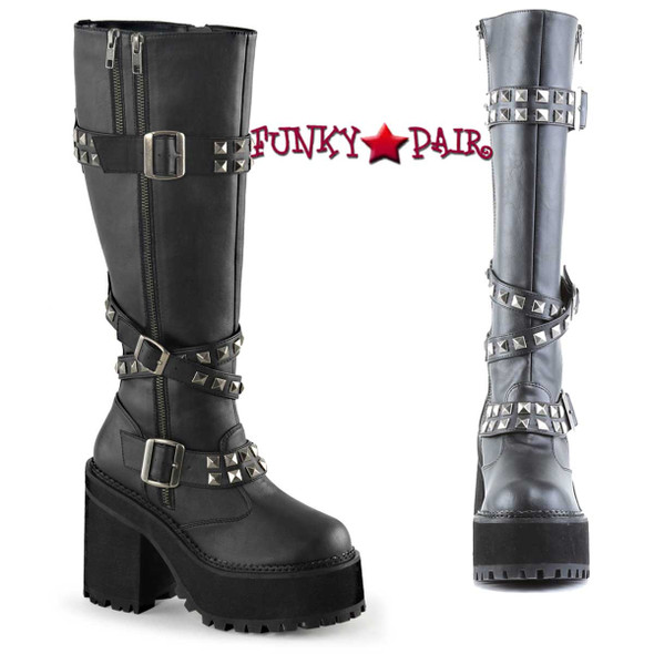 Demonia Assault-203, 4.75 inch Platform Knee High Boots with Studded Straps