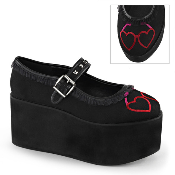 Click-02-1, 3.25 Inch Platform Maryjane with Heart Eyeglasses Embroidery and Studs