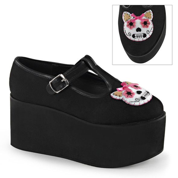 Kitty Cat Felt Platform Mary jane Demonia | Click-04-1