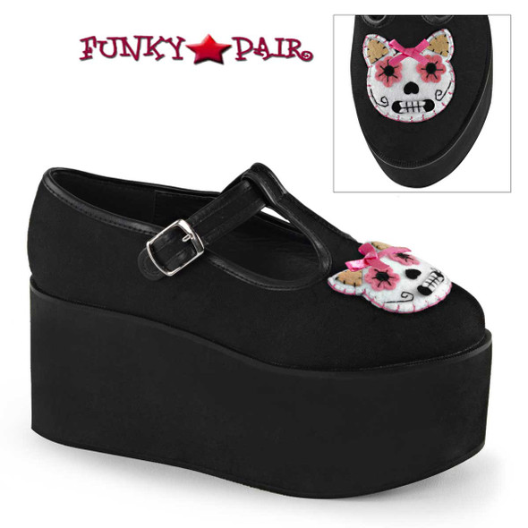 Demonia Shoes | Click-04-1, Kitty Cat Felt Platform Maryjane