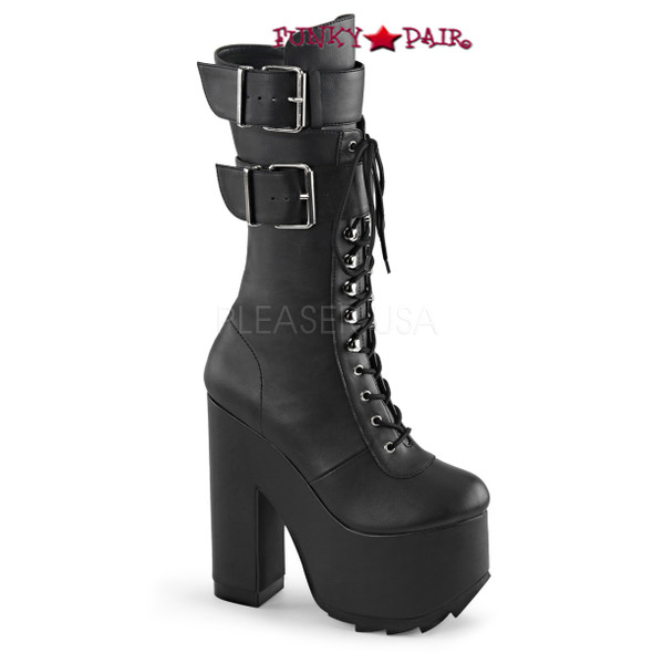 Demonia Boots | Cramps-202 Chunky Heel Knee High Boots