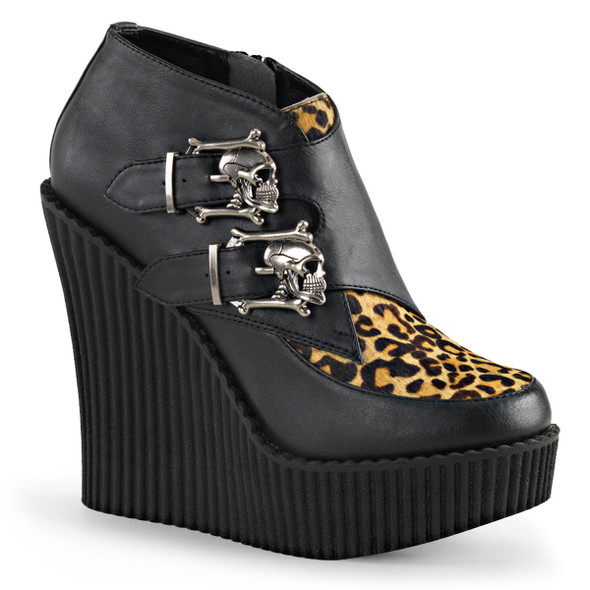 Creeper-306, 5.25 Inch Wedge Creeper with Skulls Buckles Demonia