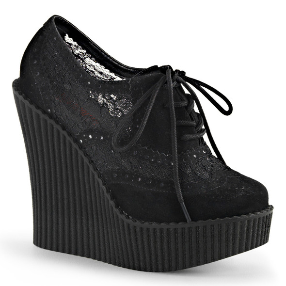 Creeper-307, 5.25 Inch Wedge Platform Brogue Creeper Demonia Shoes