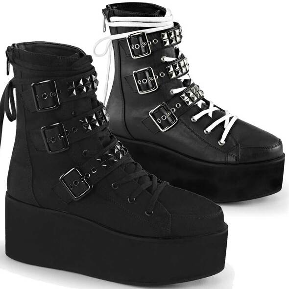 Grip-101, Ankle Boot Multi Buckle Straps with Pyramid Studs by Demonia