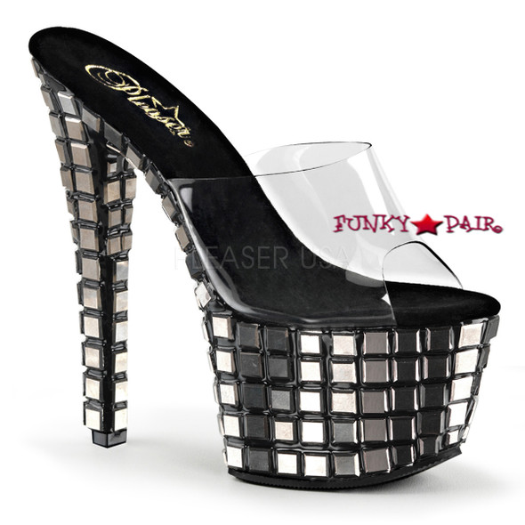 Pleaser Shoes | Sky-301MR, 7 Inch Heel Slide Platform with Mirror Tiles