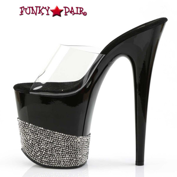 "Pleaser | Flamingo-801-3, 8"" Stripper Slide with Rhinestone on Platform"
