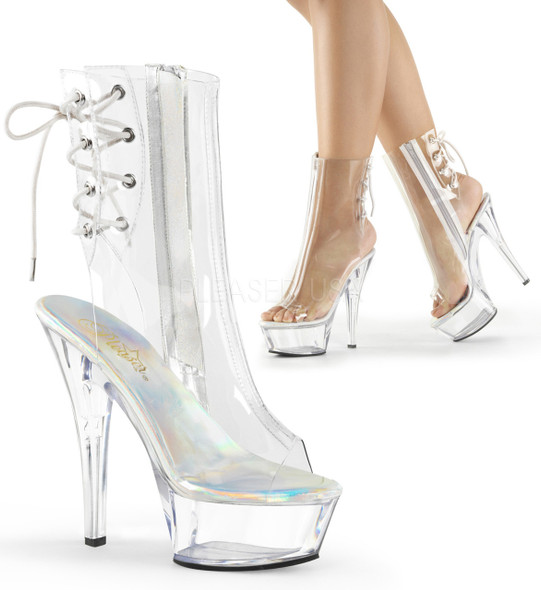 Pleaser | Kiss-1018C, Clear Peep Toe Ankle Boots