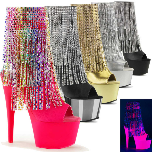Stripper Fringe Ankle Boots Adore-1024RSF